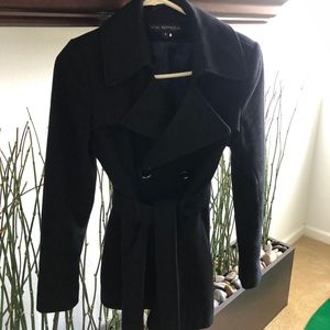 Black Wool Blend Spiga Jacket